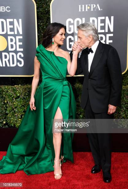 Catherine ZetaJones and Michael Douglas attend the 76th Annual Golden Globe Awards at The Beverly Hilton Hotel on January 6 2019 in Beverly Hills...