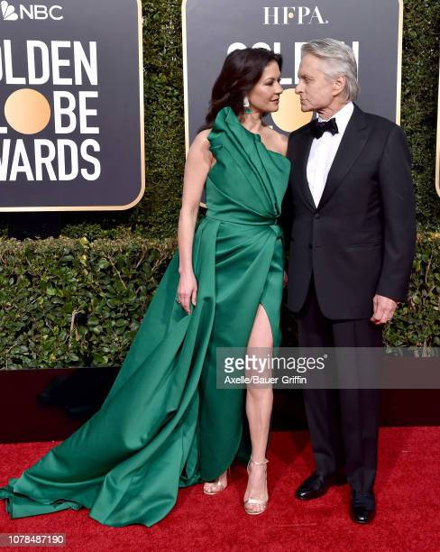 Catherine Zeta-Jones and Michael Douglas attend the 76th Annual Golden Globe Awards at The Beverly Hilton Hotel on January 6, 2019 in Beverly Hills,...