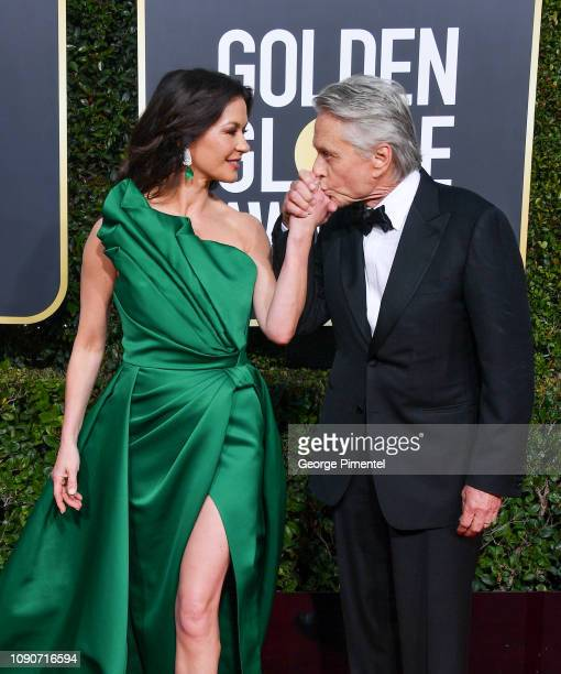 Catherine ZetaJones and Michael Douglas attend the 76th Annual Golden Globe Awards held at The Beverly Hilton Hotel on January 06 2019 in Beverly...