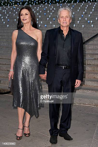 Catherine ZetaJones and Michael Douglas attend the Vanity Fair party during the 2012 Tribeca Film Festival at the State Supreme Courthouse on April...