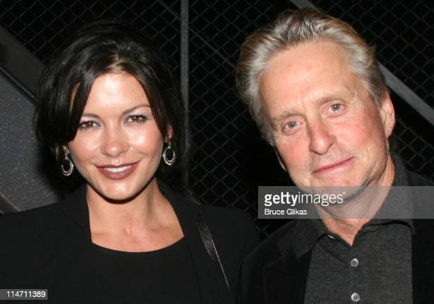 Catherine ZetaJones and Michael Douglas during Michael Douglas and Catherine ZetaJones Attend 'Jersey Boys' on Broadway at The August Wilson Theater...