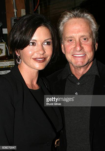 Catherine ZetaJones and Michael Douglas during Michael Douglas and Catherine ZetaJones Attend Jersey Boys on Broadway at The August Wilson Theater in...