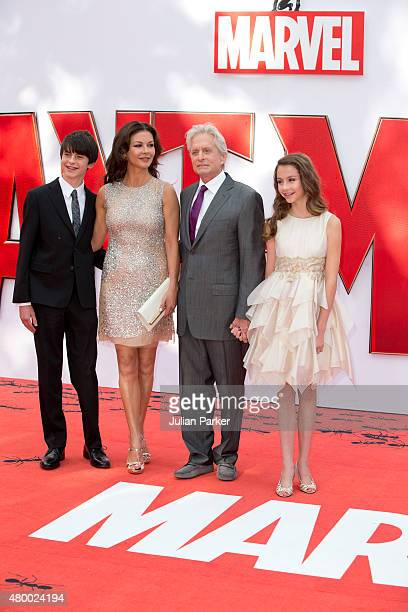 Catherine ZetaJones and Michael Douglas with their children Dylan and Carys as they attend the European Premiere of Marvel's 'AntMan' at the Odeon...