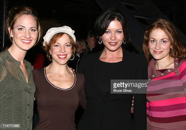 Catherine ZetaJones and The Jersey Girls during Michael Douglas and Catherine ZetaJones Attend 'Jersey Boys' on Broadway at The August Wilson Theater...