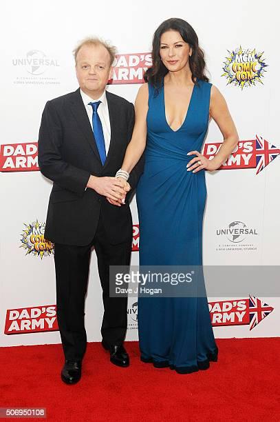 Catherine ZetaJones and Toby Jones attend 'Dad's Army' World Premiere on January 26 2016 in London United Kingdom