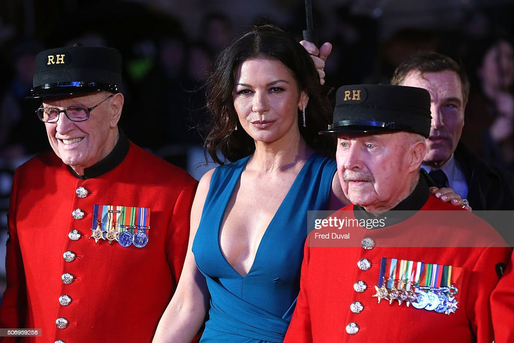 Catherine Zeta-Jones attends 'Dad's Army' World Premiere at the Odeon Leicester Square on January 26, 2016 in London, United Kingdom.