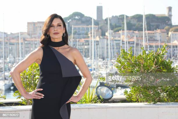 Catherine ZetaJones attends Photocall for 'Cocaine Godmother' as part of MIPCOM at the Palais des Festivals on October 16 2017 in Cannes France