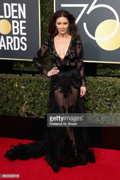 Catherine ZetaJones attends The 75th Annual Golden Globe Awards at The Beverly Hilton Hotel on January 7 2018 in Beverly Hills California