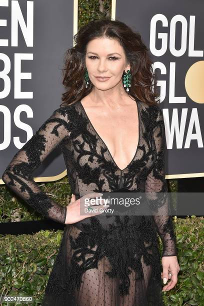 Catherine ZetaJones attends the 75th Annual Golden Globe Awards Arrivals at The Beverly Hilton Hotel on January 7 2018 in Beverly Hills California