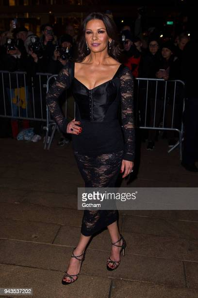 Catherine ZetaJones attends the Dolce Gabbana Alta Moda 2018 collection at the Metropolitan Opera House at Lincoln Center on April 8 2018 in New York...