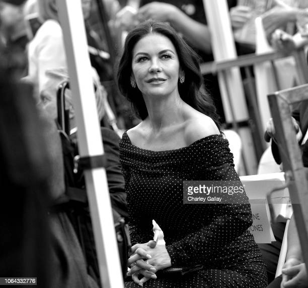 Catherine ZetaJones attends the Hollywood Walk of Fame Ceremony Honoring Michael Douglas on Hollywood Boulevard on November 06 2018 in Hollywood...