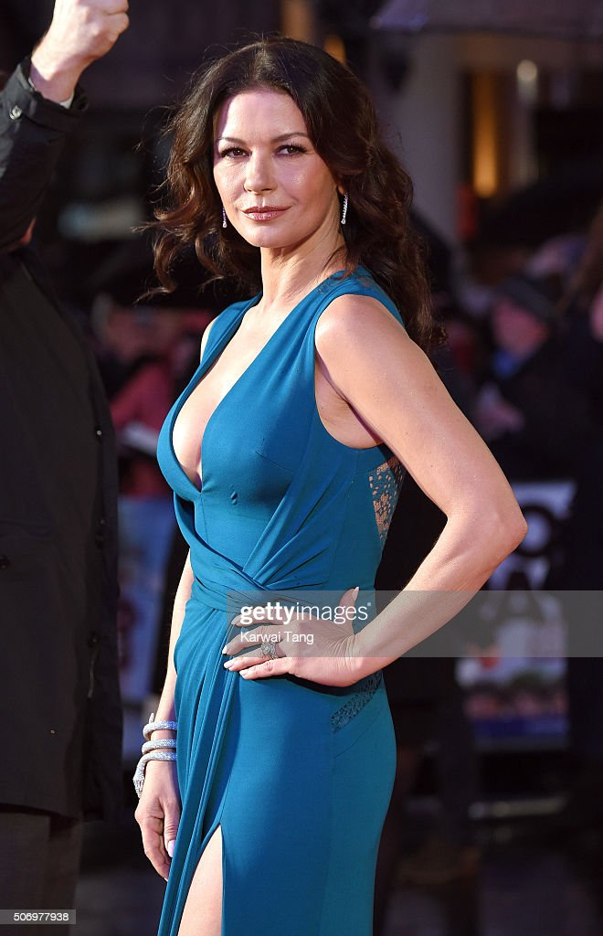 Catherine Zeta-Jones attends the World Premiere of 'Dad's Army' at Odeon Leicester Square on January 26, 2016 in London, United Kingdom.