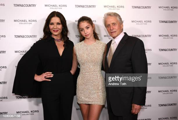 Catherine ZetaJones Carys Zeta Douglas and Michael Douglas attend Town Country 2018 New Modern Swans Celebration with Michael Kors Catherine...