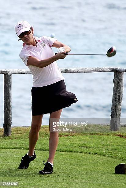 Catherine Zeta-Jones hits a shot on the fourth tee during the pro-am prior to the start of PGA Grand Slam at the Mid Ocean Club on October 15, 2007...