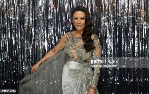 Catherine ZetaJones is pictured inside the photo booth prior to The Best FIFA Football Awards at The London Palladium on October 23 2017 in London...