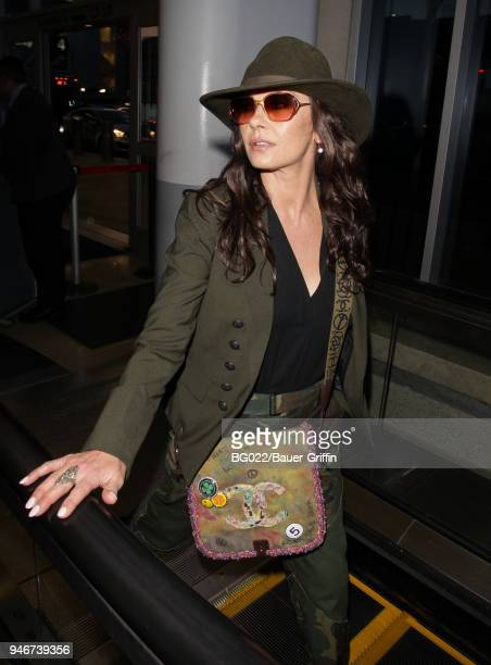 Catherine ZetaJones is seen at LAX on April 15 2018 in Los Angeles California