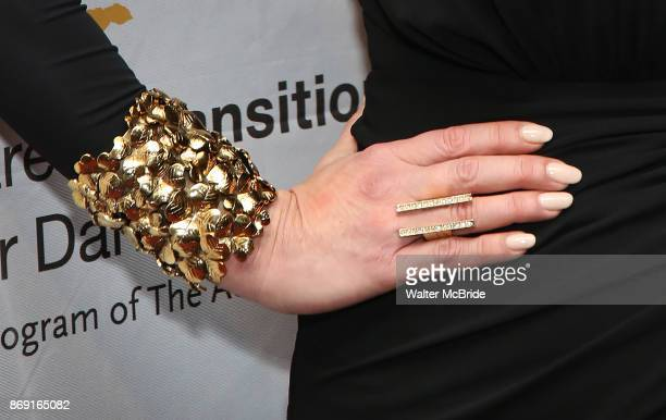 Catherine ZetaJones jewlry detail attends the Actors Fund Career Transition For Dancers Gala on November 1 2017 at The Marriott Marquis in New York...