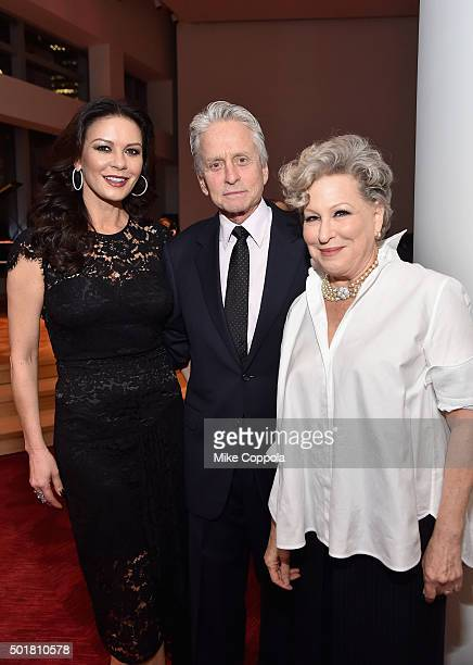 Catherine ZetaJones Michael Douglas and Bette Midler attend the opening of the Mica and Ahmet Ertegun Atrium at Jazz at Lincoln Center on December 17...