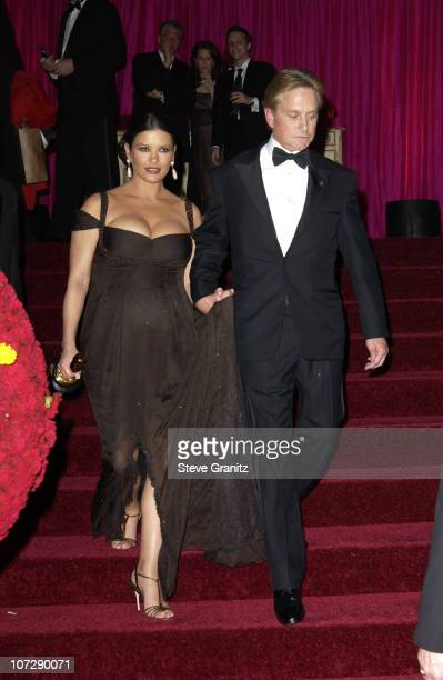 Catherine ZetaJones Michael Douglas during Elton John AIDS Foundation's 11th Annual Oscar party cohosted by In Style and AOL in association with MAC...
