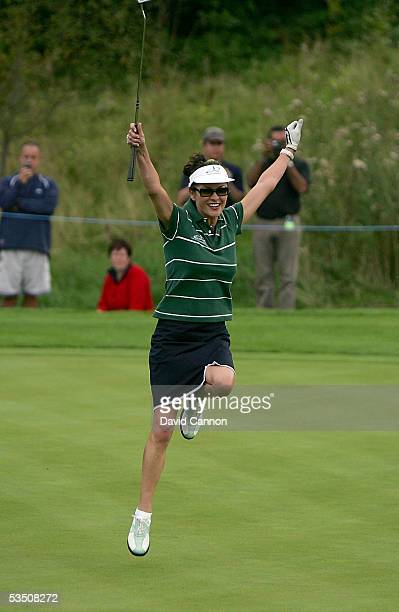 Catherine Zeta-Jones of Wales celebrates as she wins the 11th hole during the Monday fourball matches on the first day of All-Star Cup on the Roman...