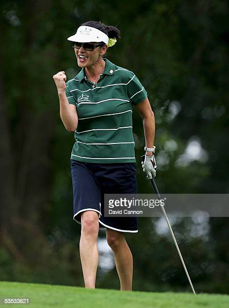 Catherine Zeta-Jones of Wales celebrates on the 10th during the monday fourball matches on the final day of All-Star Cup on the Roman Road Course at...