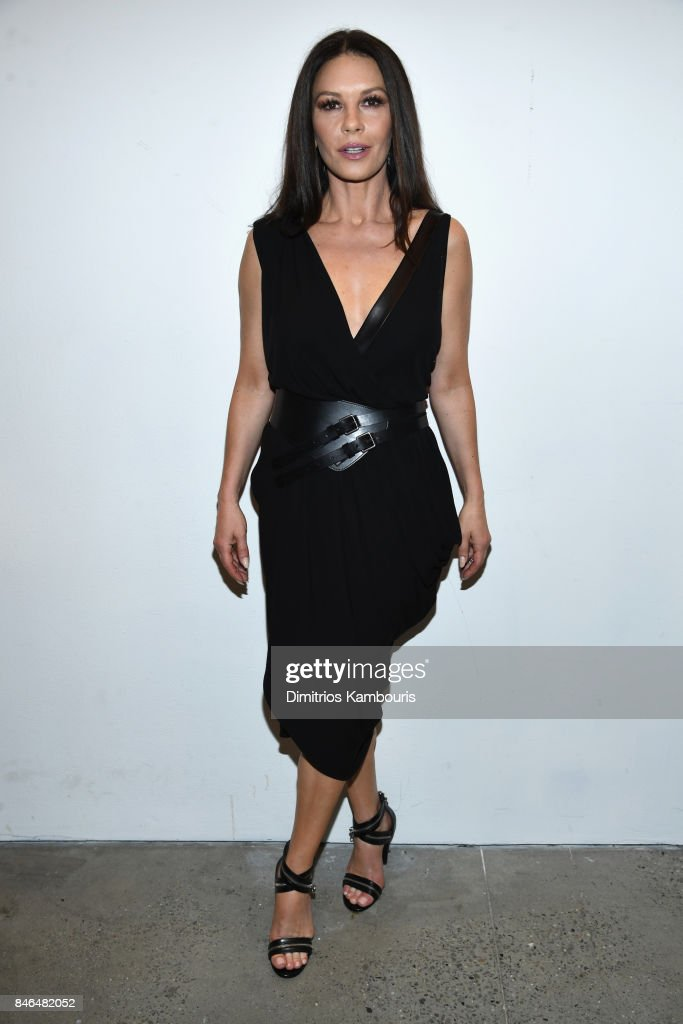 Catherine Zeta-Jones poses backstage at Michael Kors Collection Spring 2018 Runway Show at Spring Studios on September 13, 2017 in New York City.