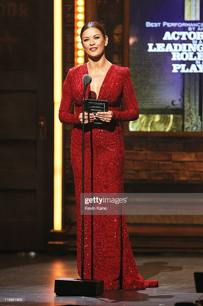 Catherine Zeta-Jones speaks on stage during the 65th Annual Tony Awards at the Beacon Theatre on June 12, 2011 in New York City.