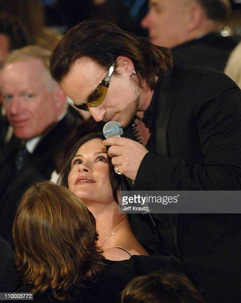 Catherine Zeta-Jones with Bono of U2, inductee during 20th Annual Rock and Roll Hall of Fame Induction Ceremony - Show at Waldorf Astoria Hotel in...