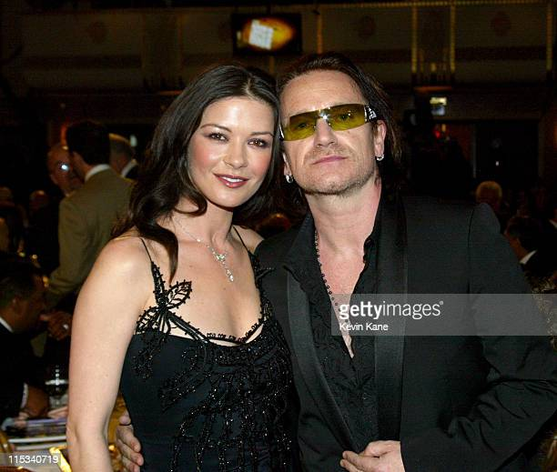 Catherine Zeta-Jones with Bono of U2, inductee during 20th Annual Rock and Roll Hall of Fame Induction Ceremony - Dinner at Waldorf Astoria in New...