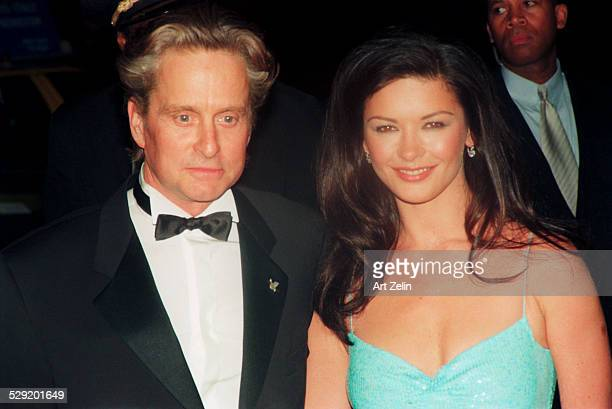 Catherine Zeta-Jones with her husband Michael Douglas; circa 1990; New York.