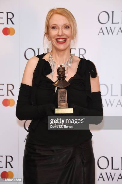 "Catherine Zuber, winner of the Best Costume Design award for ""The King And I"", poses in the press room at The Olivier Awards 2019 with Mastercard at..."