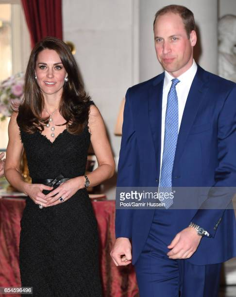 Catherine,Duchess of Cambridge and Prince William, Duke of Cambridge attend a reception at the British Embassy on March 17, 2017 in Paris, France....