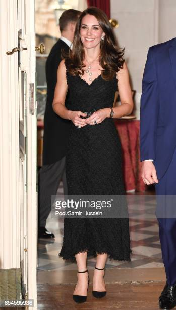 Catherine,Duchess of Cambridge attends a reception at the British Embassy on March 17, 2017 in Paris, France. The Duke and Duchess are on a two day...