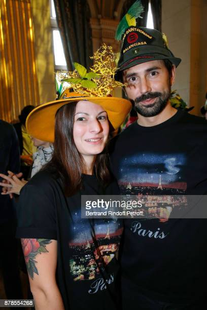 Catherinette and Nicolas of Balenciaga attend Maisons de Couture of Paris Celebrate SainteCatherine at Mairie de Paris on November 24 2017 in Paris...