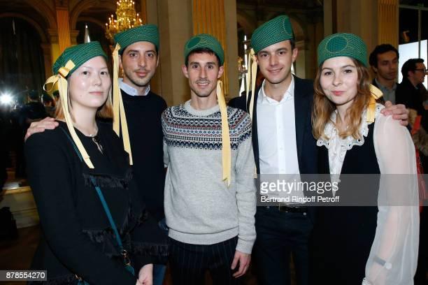 Catherinette and Nicolas of Chloe attend Maisons de Couture of Paris Celebrate SainteCatherine at Mairie de Paris on November 24 2017 in Paris France