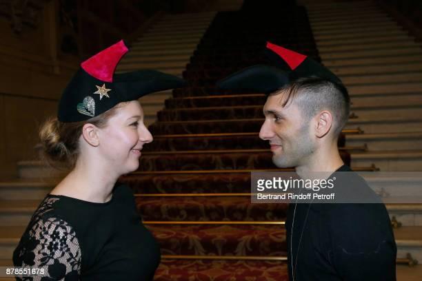 Catherinette and Nicolas of Schiaparelli attend Maisons de Couture of Paris Celebrate SainteCatherine at Mairie de Paris on November 24 2017 in Paris...