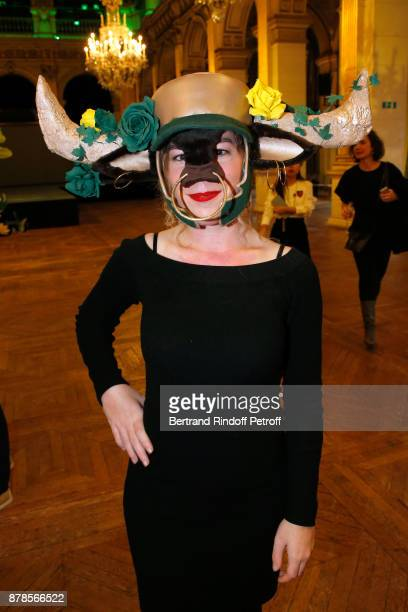 Catherinette of 'Lycee Gustave Feuillet' attends Maisons de Couture of Paris Celebrate SainteCatherine at Mairie de Paris on November 24 2017 in...