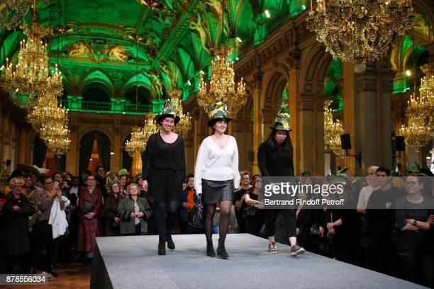 Catherinette of the School of 'Chambre Syndicale de la Mode' attend Maisons de Couture of Paris Celebrate SainteCatherine at Mairie de Paris on...