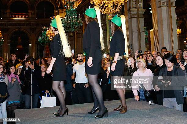 Catherinettes from Hermes attend SainteCatherine Celebration at Mairie de Paris on November 24 2014 in Paris France At St Catherine we celebrate the...