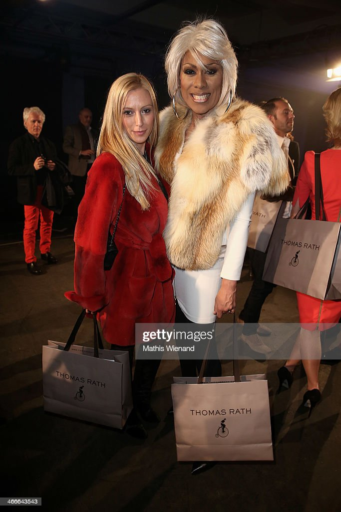 Catherrine Leclery and Valentina Stiller arrive for the Thomas Rath fashion show during Platform Fashion Dusseldorf on February 2, 2014 in Dusseldorf, Germany.