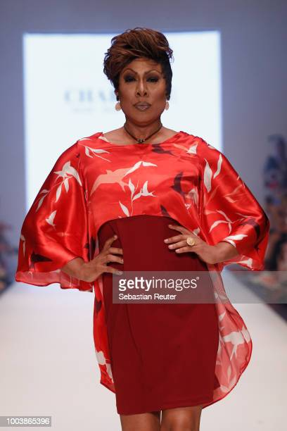 A model walks the runway for Marianna Deri as part of the Platform Fashion Selected show during Platform Fashion July 2018 at Areal Boehler on July...