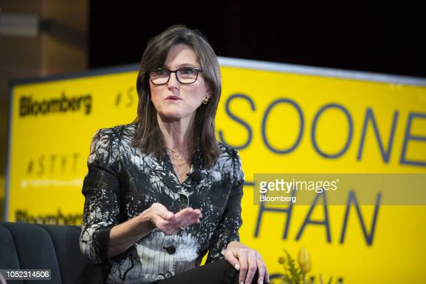 Cathie Wood chief executive officer and chief investment officer of ARK Investment Management LLC speaks during the Sooner Than You Think conference...