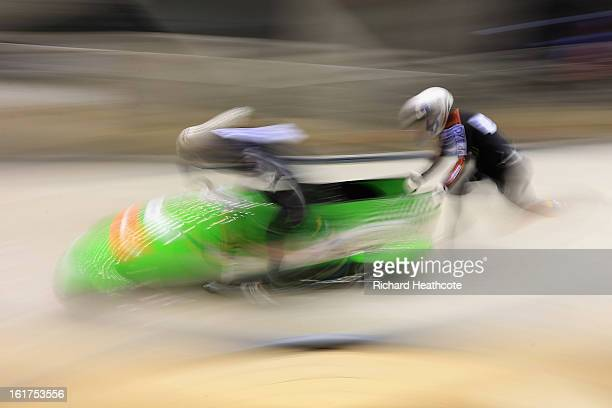 Cathleen Martini and Janine Tischer of Germany in action during the Women's Viessman FIBT Bob Skeleton World Cup at the Sanki Sliding Center in...