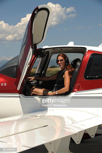 Cathleen Van Buskirk sits inside of the cockpit of her Cirrus SR22Turbo plane She has been flying for 5 1/2 years This is the home of Cathleen Van...