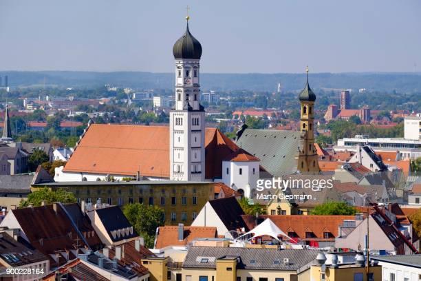 catholic and protestant holy cross church, view from perlachturm, augsburg, swabia, bavaria, germany - augsburg zwaben stockfoto's en -beelden