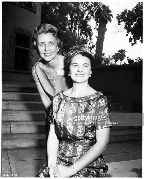 Catholic Big Sisters 8 May 1958 Mrs Jack MorseMrs Alfred Pratt Caption slip reads 'Photographer Gray Date Reporter Soc Assignment Jean d'Arc Home Big...