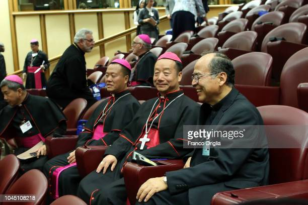 Catholic bishops from China attend the opening of the Synod of Bishops on 'Young People' at the Synod Hall on October 3 2018 in Vatican City Vatican...
