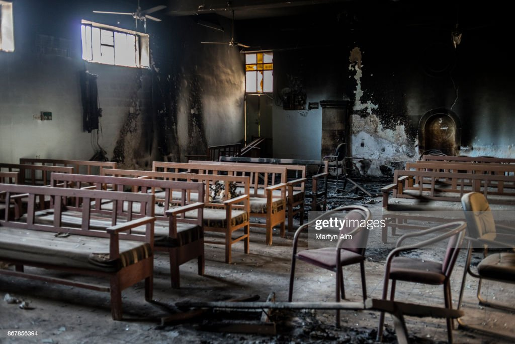 A Catholic church damaged and burned by Islamic State militants in Karamles, a Christian town in northern Iraq, on September 8, 2017.