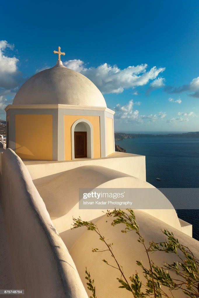 Catholic Church Dome of Saint Stylianos, Firostefani, Santorini, Greece : Stock Photo