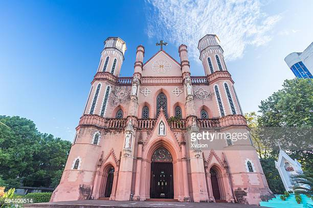 catholic church in fuzhou city, the 3rd biggest catholic church in china main land - jiangxi province stock photos and pictures